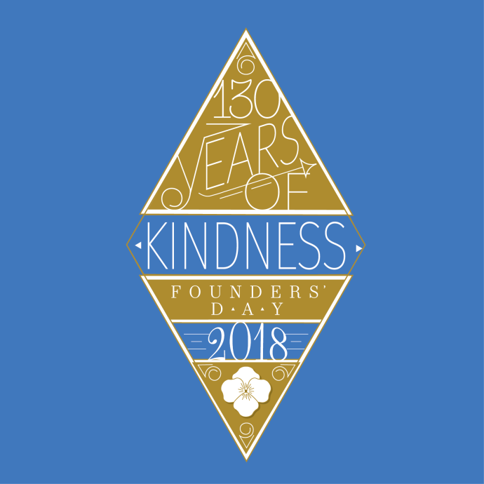 "A blue background, with a yellow diamond in the centre of the image. The diamond has white writing within it, that reads ""130 Years of Kindness, Founders' Day 2018""."